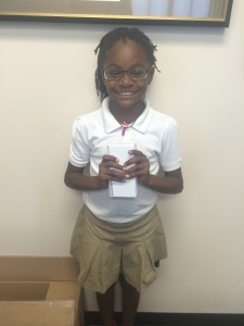 Student at City Academy receives her first pair of glasses!